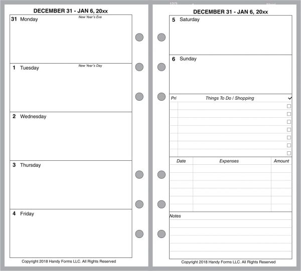 FPL Weekly Planner, 2 Pages per Week, 2 Pages per Month, NO Lines (Style C)
