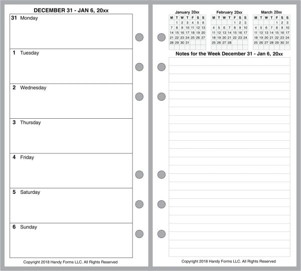 FPL Weekly Planner, 2 Pages per Week, 2 Pages per Month, No Lines (Style E)