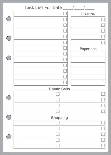 A6 Daily Task List