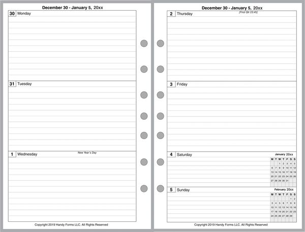 FCS Weekly Planner, 2 Pages per Week, 2 Pages per Month, with Lines, Optional Appt Times, Style B