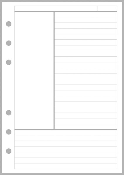 PW Note Paper Designed for the Cornell Notetaking System - Personal Wide