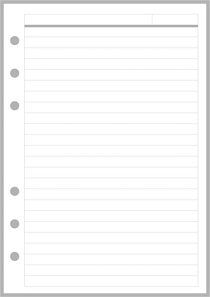 PW Lined Note Paper with Subject Header - Personal Wide