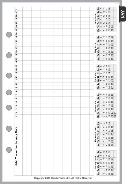 FCS Monthly Planner, 4 Pages per Month, Habit Tracker, No Lines