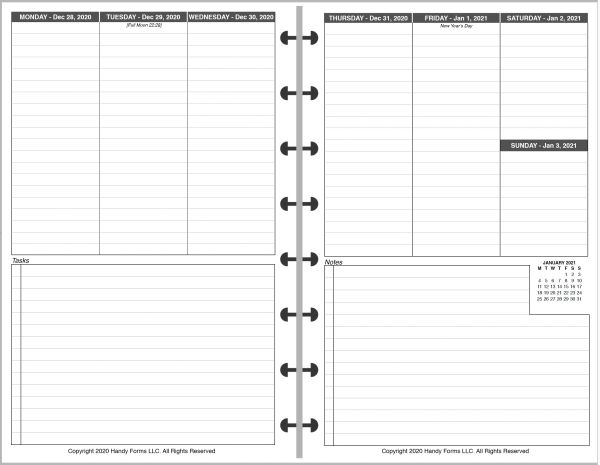 LVJ Weekly Planner, 2 Pages per Week, 2 Pages per Month, Schedule + Tasks (Style M)