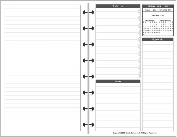 LVJ Daily Planner, 2 Pages per Day, 3 Pages per Month (Style D)