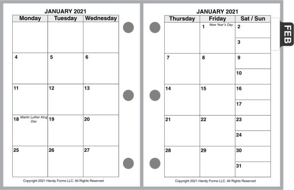 HFN Nano Size Monthly Planner, 2 Pages per Month, 6-Columns, No Lines