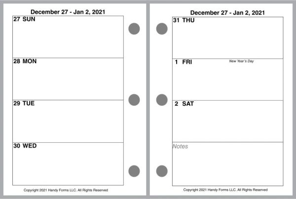 HFN Nano Size Weekly Planner, 2 Pages per Week, No Lines