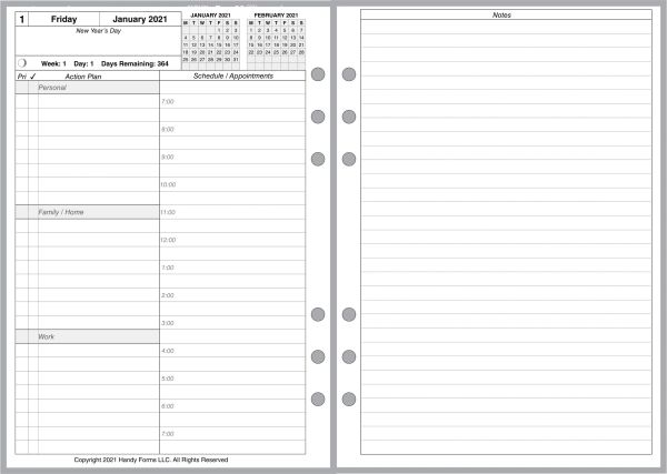 A5 Daily Planner, 2 Pages per Day, 5 Pages per Month (Style A Special)