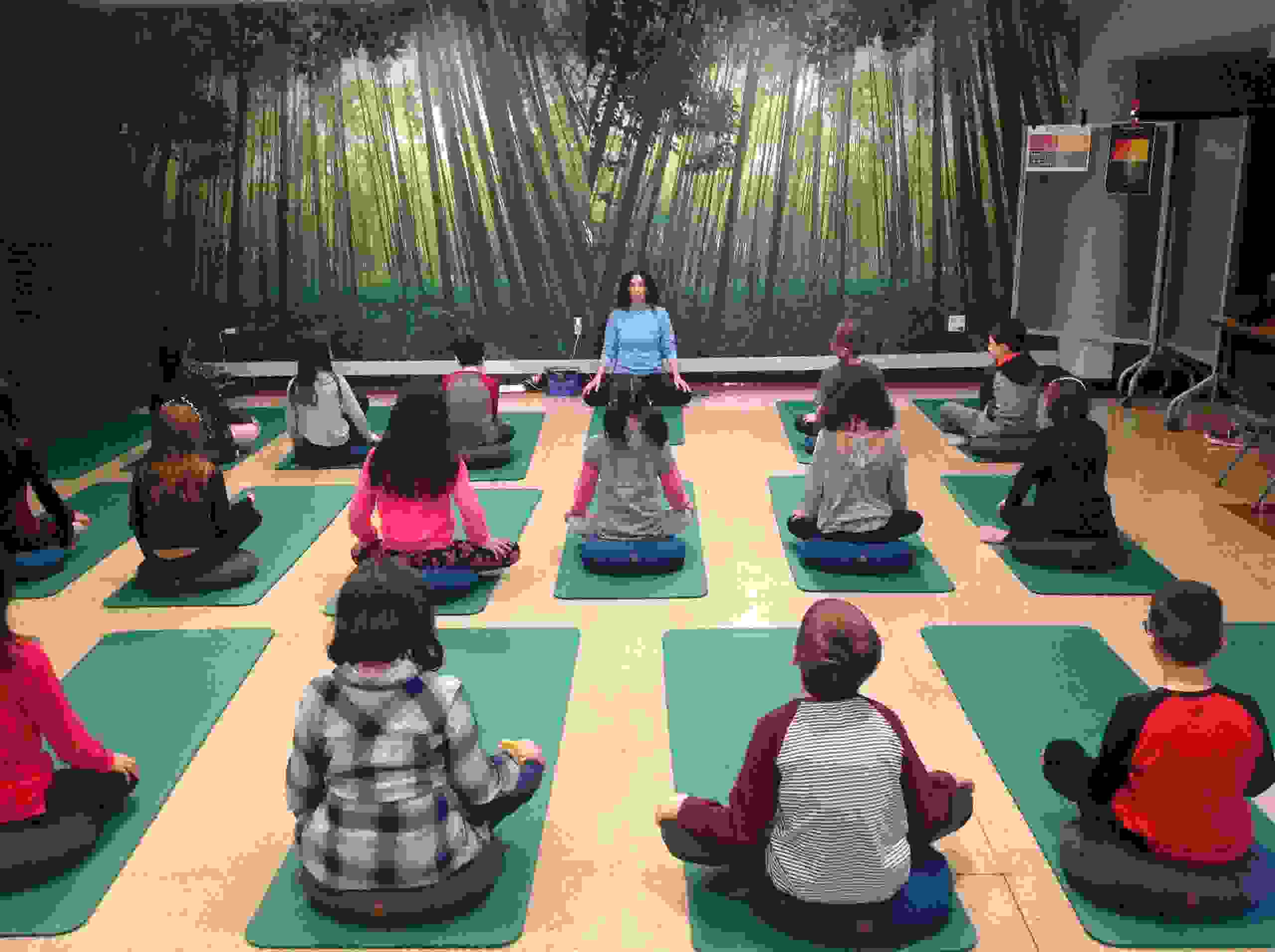 Leading calm guided mindfulness and breathing yoga for Chappaqua elementary school students