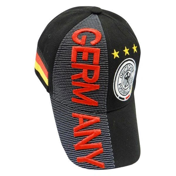 GERMANY BLACK RED TITLE COUNTRY FLAG 3 STARS DEUTSCHER FUSSBALL - BUND LOGO SOCCER WORLD CUP EMBOSSED HAT CAP.. NEW