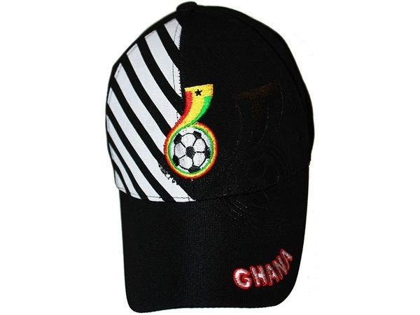 GHANA BLACK WITH WHITE STRIPES FIFA SOCCER WORLD CUP EMBOSSED HAT CAP.. HIGH QUALITY .. NEW