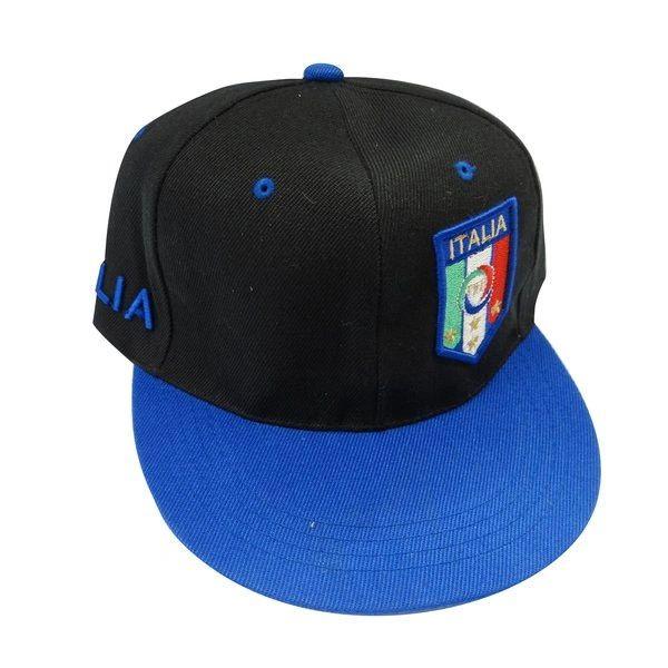 ITALIA ITALY BLACK BLUE FIGC LOGO FIFA SOCCER WORLD CUP HIP HOP HAT CAP .. HIGH QUALITY .. NEW