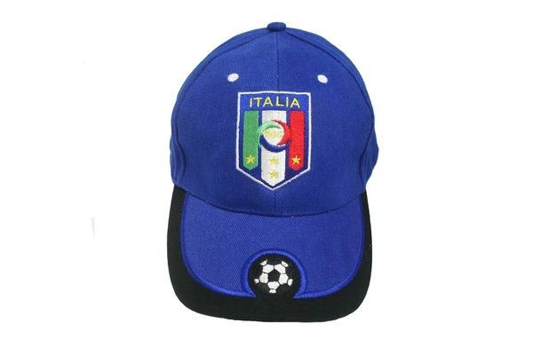 ITALIA ITALY BLUE FIGC LOGO FIFA SOCCER WORLD CUP EMBOSSED HAT CAP .. HIGH QUALITY .. NEW