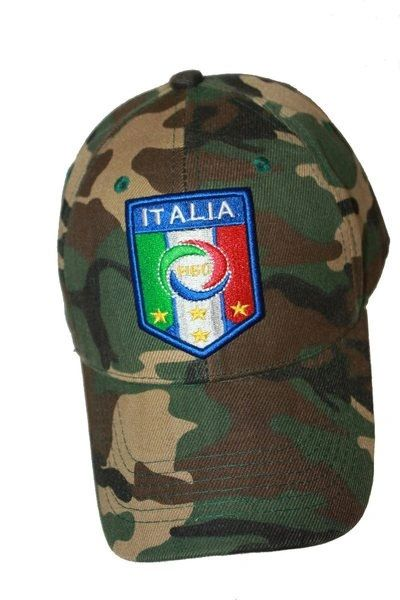 ITALIA ITALY CAMOUFLAGE FIGC LOGO FIFA SOCCER WORLD CUP EMBOSSED HAT CAP .. HIGH QUALITY .. NEW