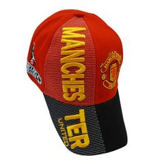 MANCHESTER UNITED BLACK RED WITH LOGO SOCCER EMBOSSED HAT CAP .. HIGH QUALITY .. NEW