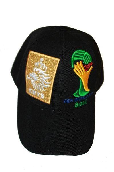 NETHERLANDS HOLLAND BLACK KNVB LOGO FIFA SOCCER WORLD CUP EMBOSSED HAT CAP .. NEW