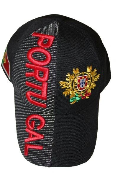 PORTUGAL BLACK COUNTRY FLAG FIFA SOCCER WORLD CUP EMBOSSED HAT CAP .. NEW