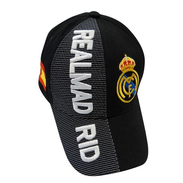 REAL MADRID BLACK COUNTRY FLAG WITH LOGO SOCCER EMBOSSED HAT CAP .. NEW