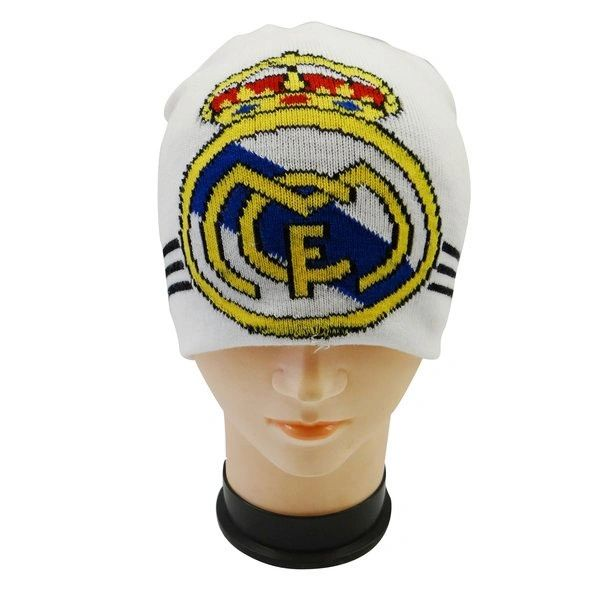 REAL MADRID WHITE WITH LOGO SOCCER TOQUE HAT .. NEW