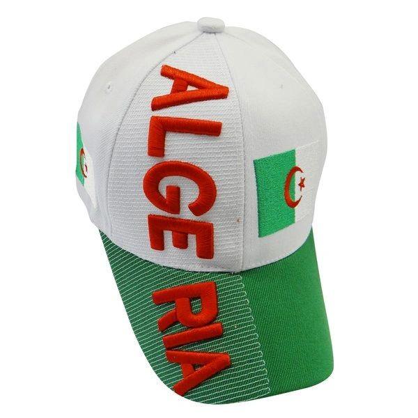 ALGERIA WHITE GREEN COUNTRY FLAG EMBOSSED HAT CAP .. NEW