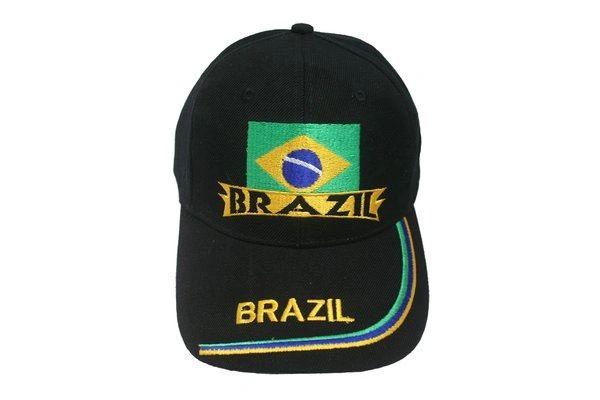 BRAZIL BRASIL BLACK COUNTRY FLAG EMBOSSED HAT CAP .. NEW