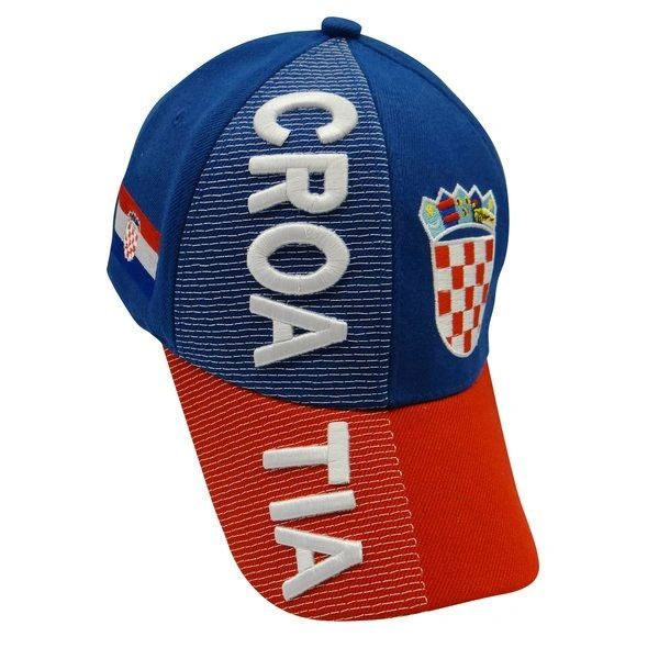 CROATIA BLUE RED COUNTRY FLAG EMBOSSED HAT CAP .. NEW