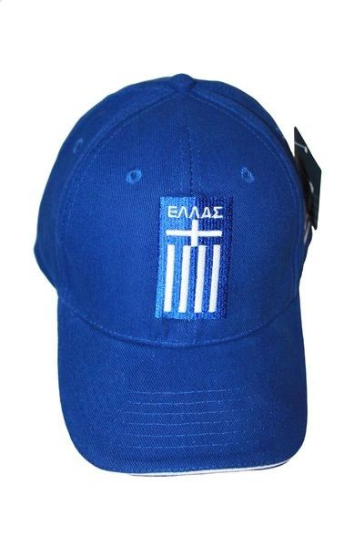 HELLAS GREECE BLUE COUNTRY FLAG EMBOSSED HAT CAP .. NEW