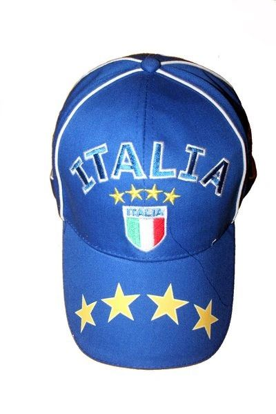 ITALIA ITALY BLUE 4 STARS COUNTRY FLAG STICK EMBOSSED HAT CAP .. NEW