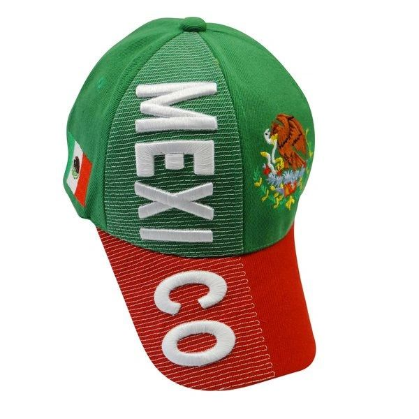 MEXICO GREEN RED COUNTRY FLAG EMBOSSED HAT CAP .. NEW