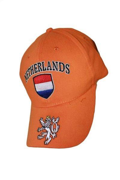 NETHERLANDS ORANGE COUNTRY FLAG LION ON BRIM EMBOSSED HAT CAP .. NEW