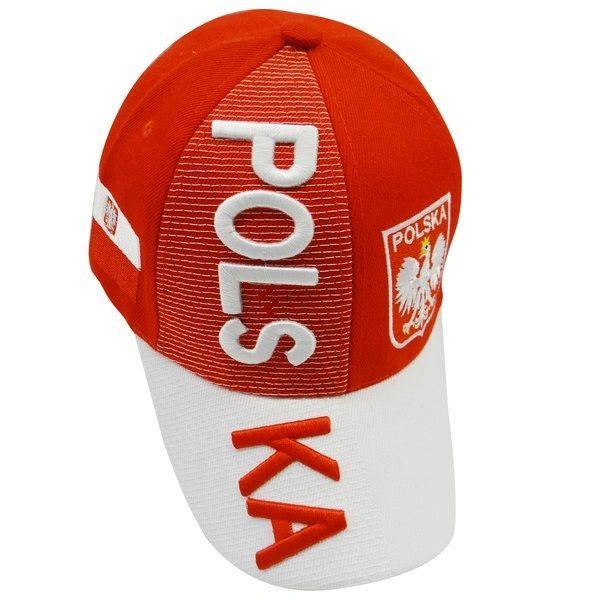POLSKA POLAND RED WHITE COUNTRY FLAG EAGLE ON BRIM EMBOSSED HAT CAP .. NEW