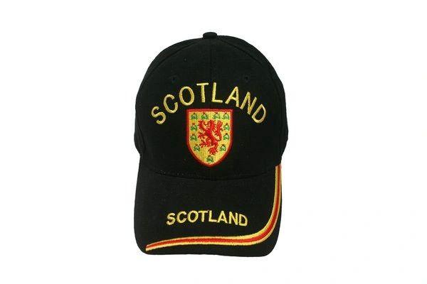 SCOTLAND BLACK WITH LION ON BRIM EMBOSSED HAT CAP .. NEW