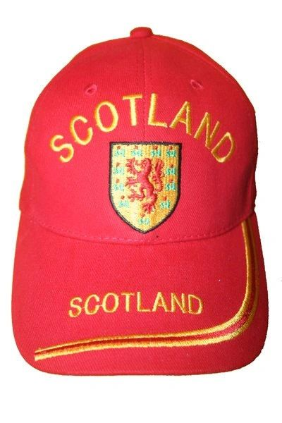 SCOTLAND RED WITH LION ON BRIM EMBOSSED HAT CAP .. NEW