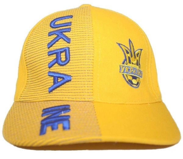UKRAINE YELLOW WITH TRIDENT EMBOSSED HAT CAP .. FOR KIDS : 6 - 10 YRS OLD ..NEW