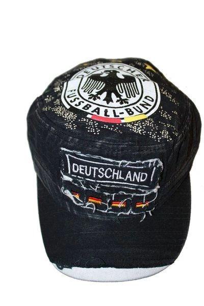 DEUTSCHLAND BLACK ACID - WASHED WEAR - LOOK MILITARY STYLE , DEUTSCHER FUSSBALL - BUND LOGO FIFA SOCCER WORLD CUP EMBOSSED HAT CAP .. NEW