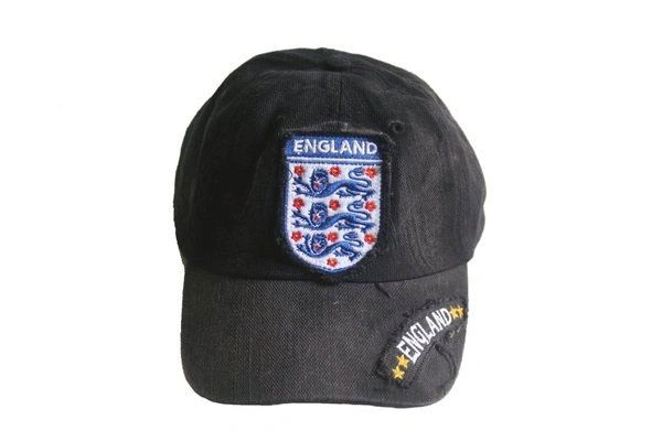 ENGLAND BLACK ACID - WASHED FIFA SOCCER WORLD CUP EMBOSSED HAT CAP .. NEW