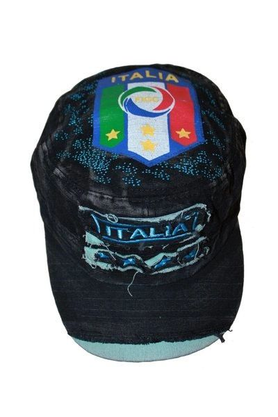 ITALIA BLACK ACID - WASHED WEAR - LOOK MILITARY STYLE FIGC LOGO FIFA SOCCER WORLD CUP EMBOSSED HAT CAP .. NEW