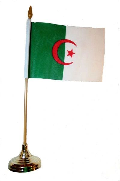 """ALGERIA 4"""" X 6"""" INCHES MINI COUNTRY STICK FLAG BANNER WITH GOLD STAND ON A 10 INCHES PLASTIC POLE .. NEW AND IN A PACKAGE."""