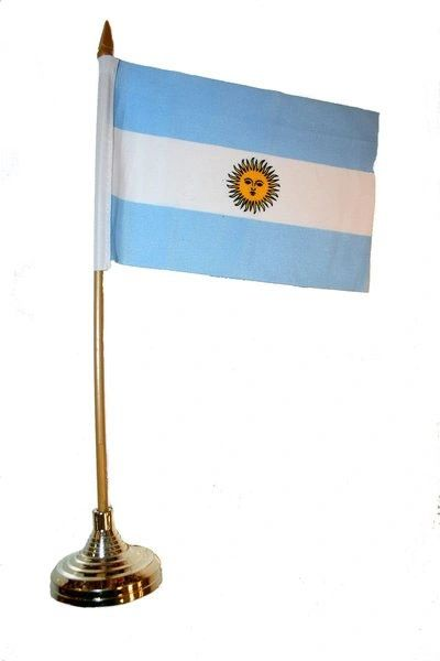 """ARGENTINA 4"""" X 6"""" INCHES MINI COUNTRY STICK FLAG BANNER WITH GOLD STAND ON A 10 INCHES PLASTIC POLE .. NEW AND IN A PACKAGE."""