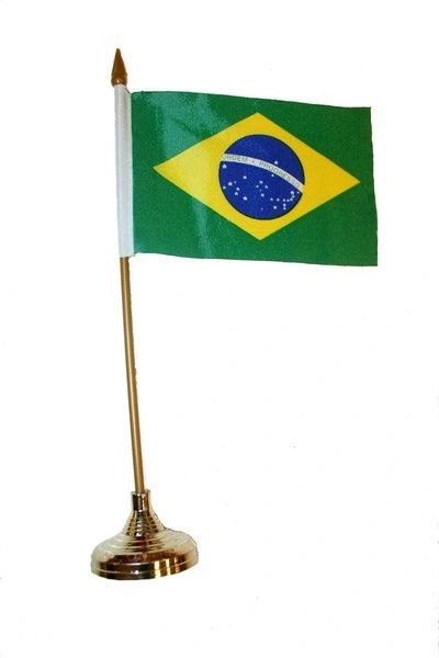 """BRASIL 4"""" X 6"""" INCHES MINI COUNTRY STICK FLAG BANNER WITH GOLD STAND ON A 10 INCHES PLASTIC POLE .. NEW AND IN A PACKAGE."""