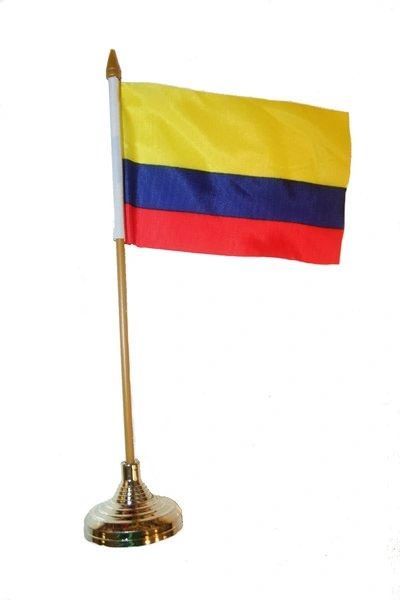 "COLOMBIA 4"" X 6"" INCHES MINI COUNTRY STICK FLAG BANNER WITH GOLD STAND ON A 10 INCHES PLASTIC POLE .. NEW AND IN A PACKAGE."