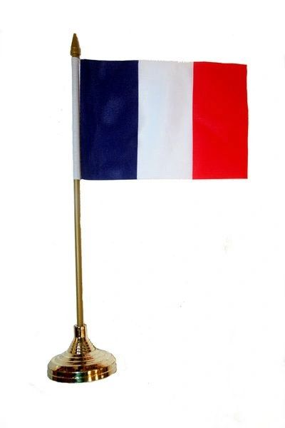 "FRANCE 4"" X 6"" INCHES MINI COUNTRY STICK FLAG BANNER WITH GOLD STAND ON A 10 INCHES PLASTIC POLE .. NEW AND IN A PACKAGE."