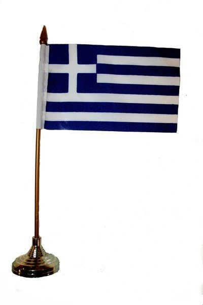 """GREECE 4"""" X 6"""" INCHES MINI COUNTRY STICK FLAG BANNER WITH GOLD STAND ON A 10 INCHES PLASTIC POLE .. NEW AND IN A PACKAGE."""