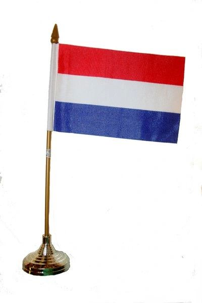 "NETHERLANDS 4"" X 6"" INCHES MINI COUNTRY STICK FLAG BANNER WITH GOLD STAND ON A 10 INCHES PLASTIC POLE .. NEW AND IN A PACKAGE."