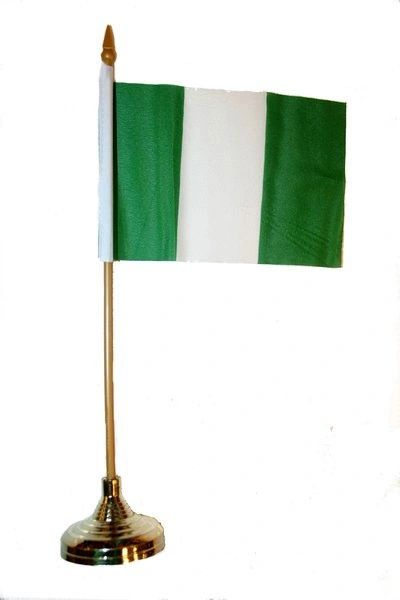 "NIGERIA 4"" X 6"" INCHES MINI COUNTRY STICK FLAG BANNER WITH GOLD STAND ON A 10 INCHES PLASTIC POLE .. NEW AND IN A PACKAGE."