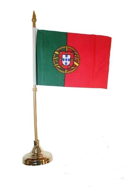 """PORTUGAL 4"""" X 6"""" INCHES MINI COUNTRY STICK FLAG BANNER WITH GOLD STAND ON A 10 INCHES PLASTIC POLE .. NEW AND IN A PACKAGE."""