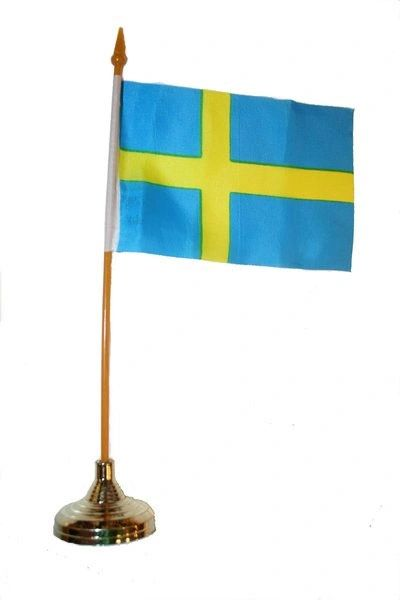 "SWEDEN 4"" X 6"" INCHES MINI COUNTRY STICK FLAG BANNER WITH GOLD STAND ON A 10 INCHES PLASTIC POLE .. NEW AND IN A PACKAGE."