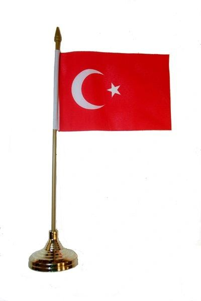 "TURKEY 4"" X 6"" INCHES MINI COUNTRY STICK FLAG BANNER WITH GOLD STAND ON A 10 INCHES PLASTIC POLE .. NEW AND IN A PACKAGE."