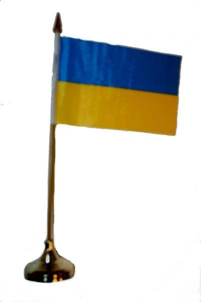 """UKRAINE 4"""" X 6"""" INCHES MINI COUNTRY STICK FLAG BANNER WITH GOLD STAND ON A 10 INCHES PLASTIC POLE .. NEW AND IN A PACKAGE."""