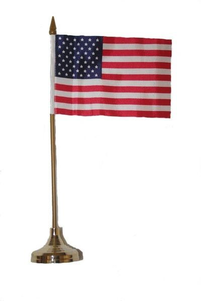 "USA 4"" X 6"" INCHES MINI COUNTRY STICK FLAG BANNER WITH GOLD STAND ON A 10 INCHES PLASTIC POLE .. NEW AND IN A PACKAGE."